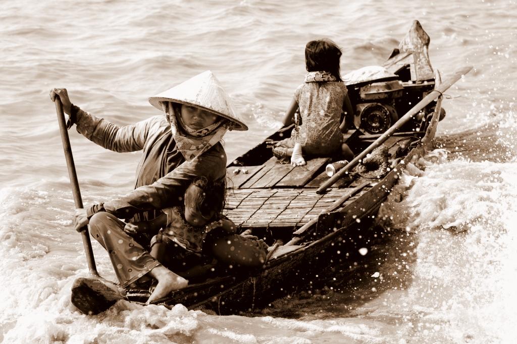 Pływająca wioska w Kambodży